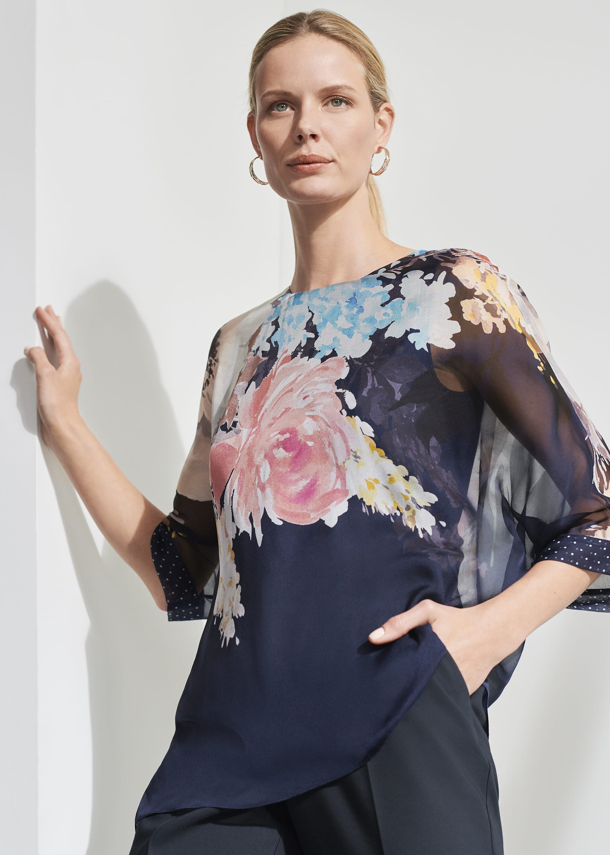 Phase Eight Women Blanche Floral Spot Silk Blouse