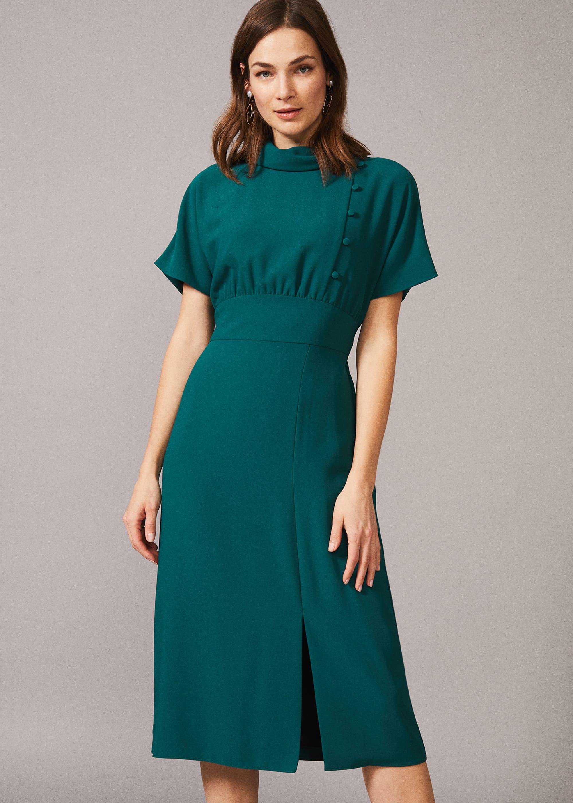 10+ Websites with 1940s Dresses for Sale Phase Eight Women Aleandra Button Detail Dress £95.00 AT vintagedancer.com