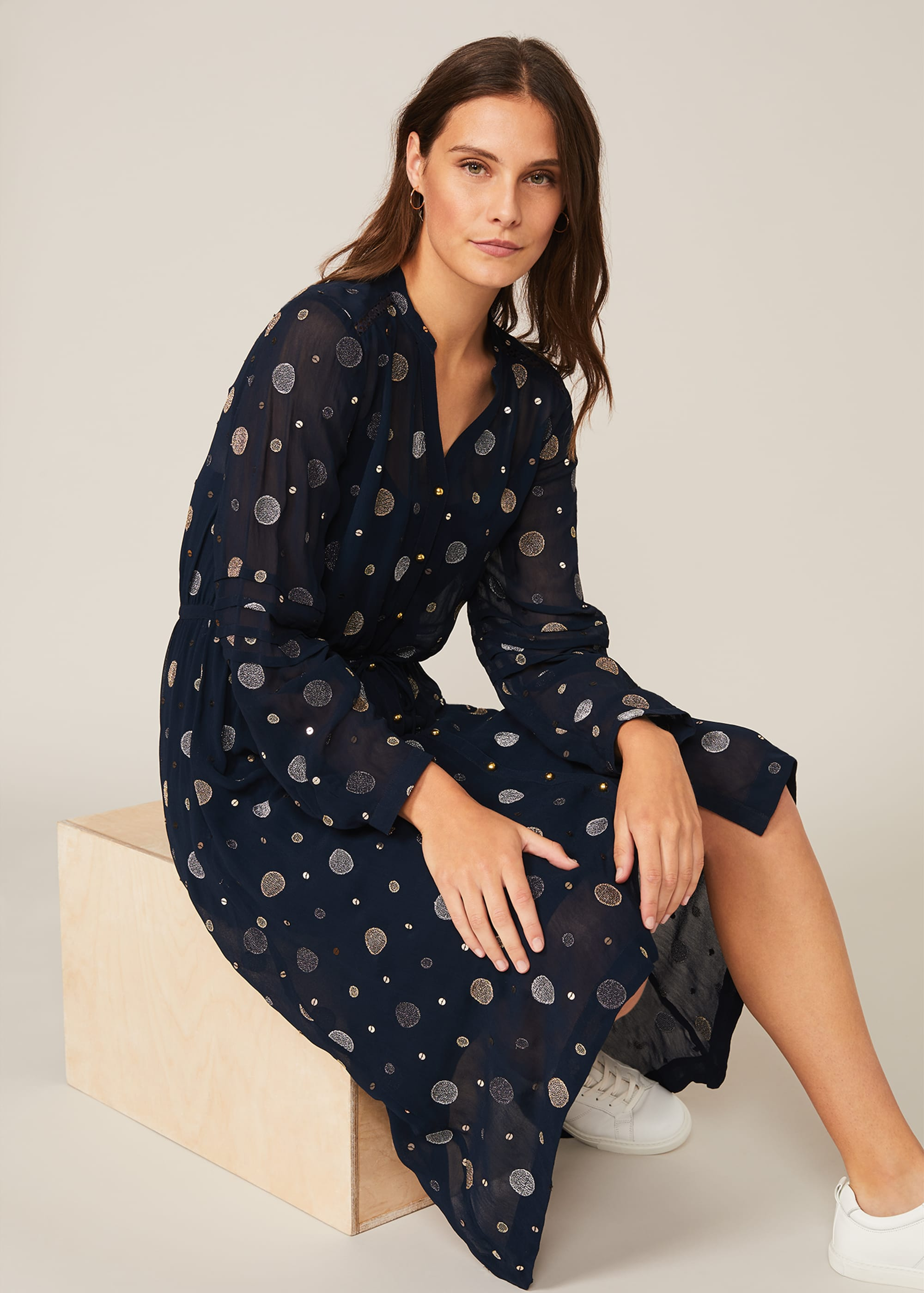 Phase Eight Women Eve Embroidered Spot Dress
