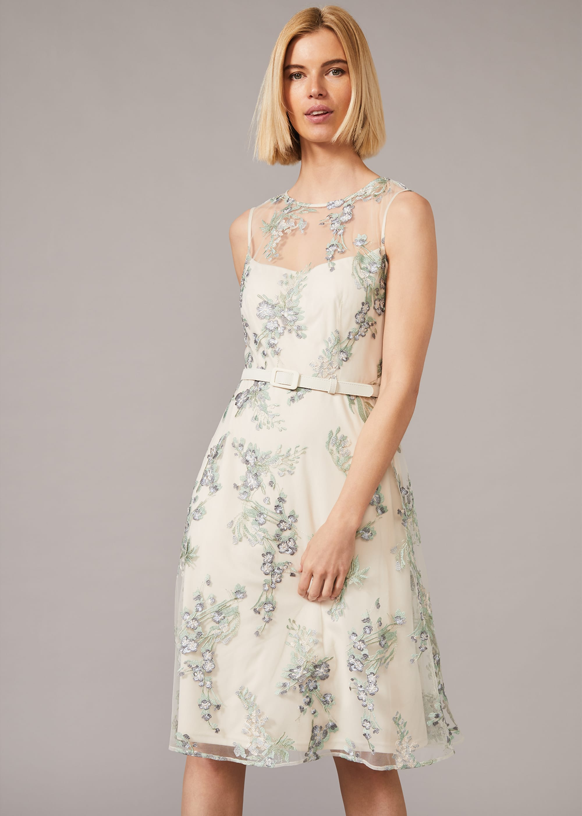 Phase Eight Women Lia Embroidered Fit and Flare Dress
