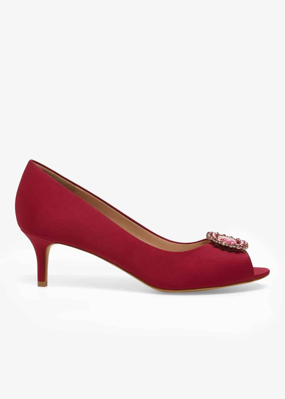 Phase Eight Women Emele Jewelled Satin Peep Toe Shoes
