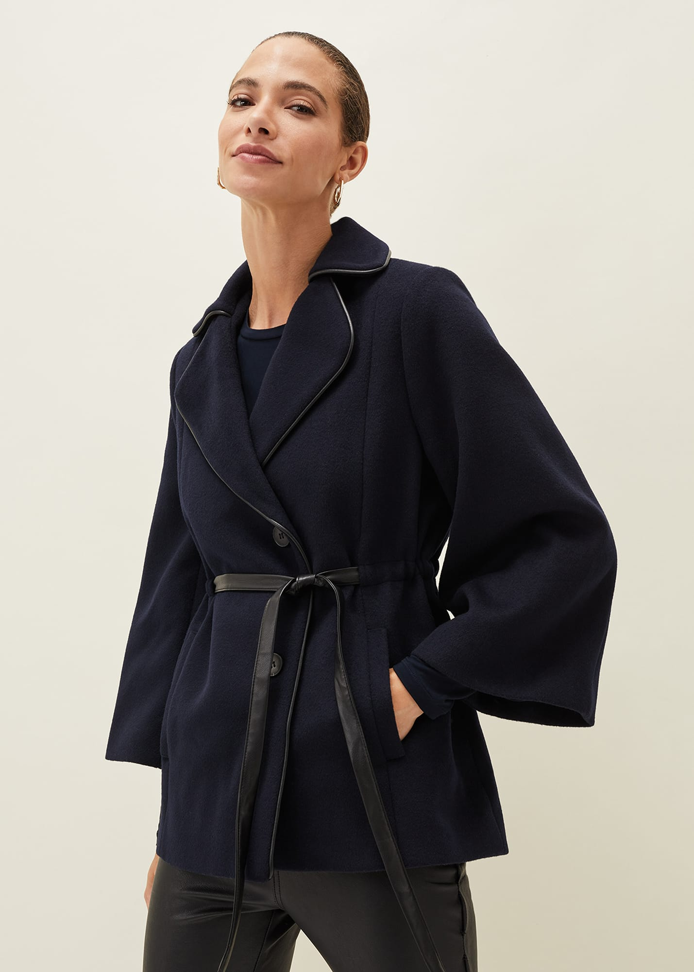 Phase Eight Women Anna Faux Leather Trim Wool Cape Coat