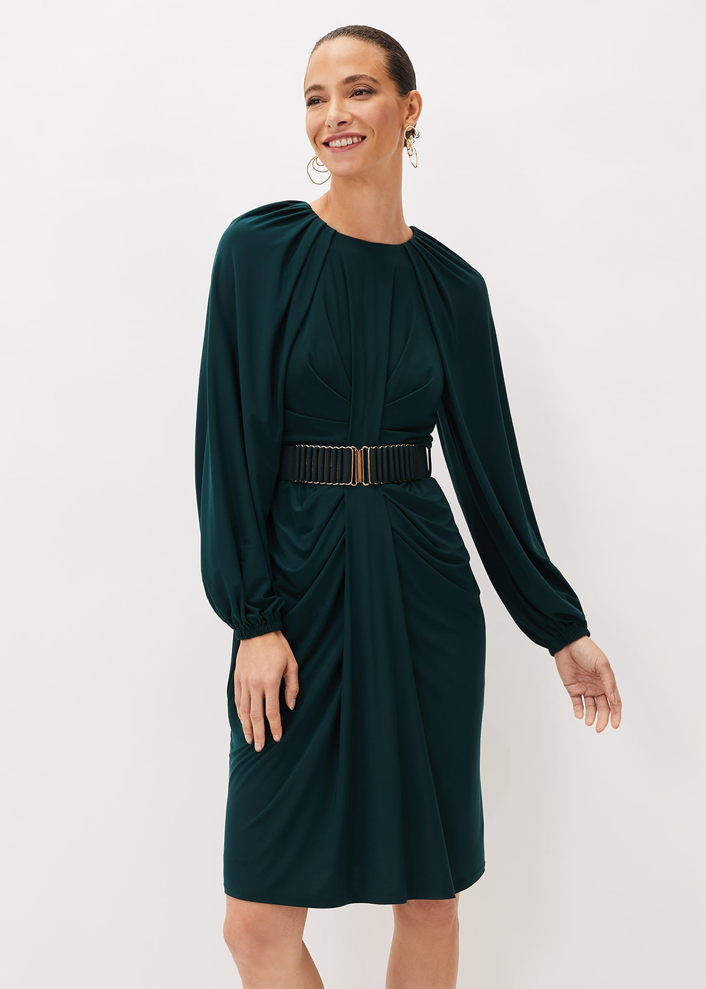 Phase Eight Women Mya Ruched Belted Jersey Dress