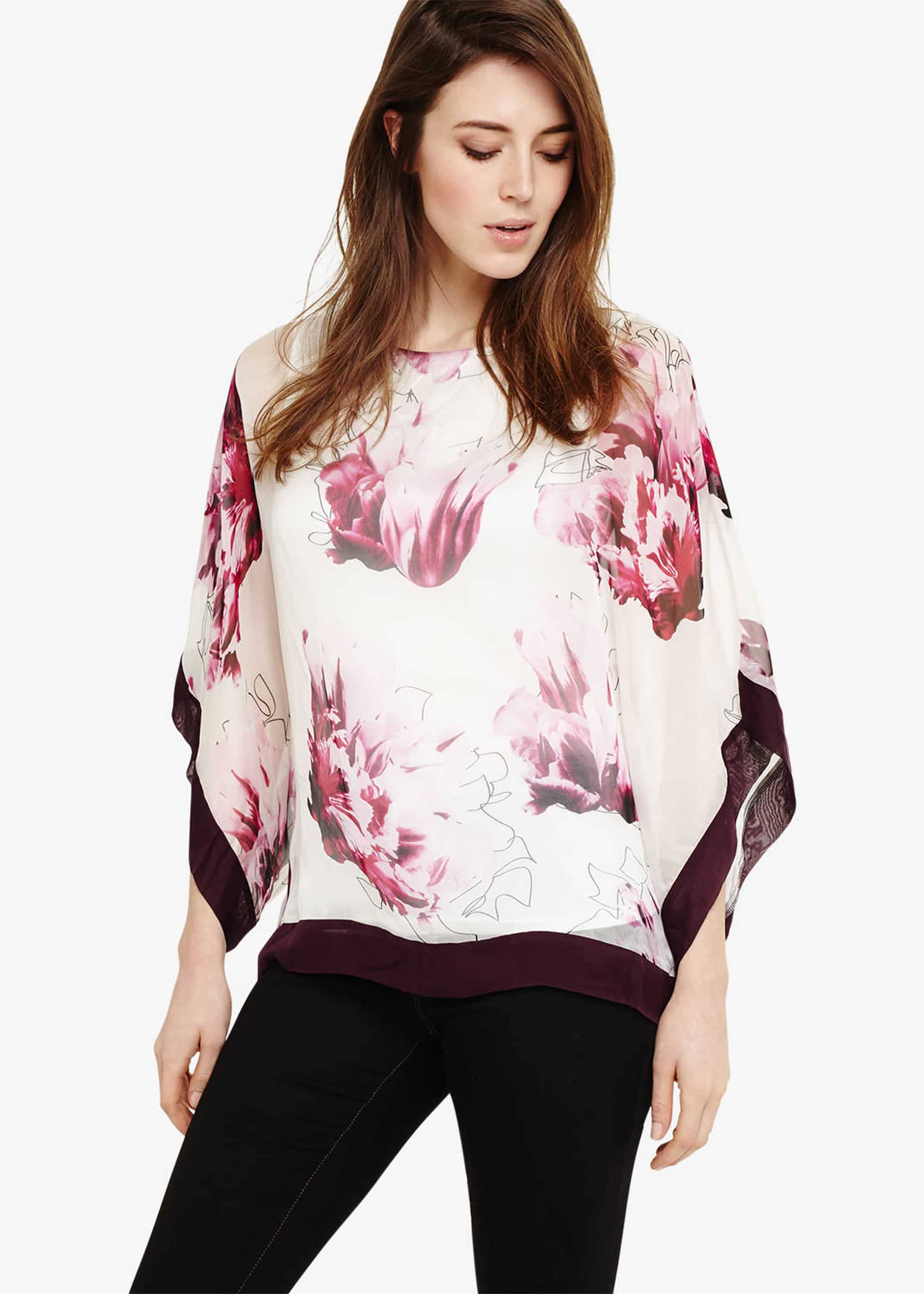 Phase Eight Women Peony Floral Silk Blouse