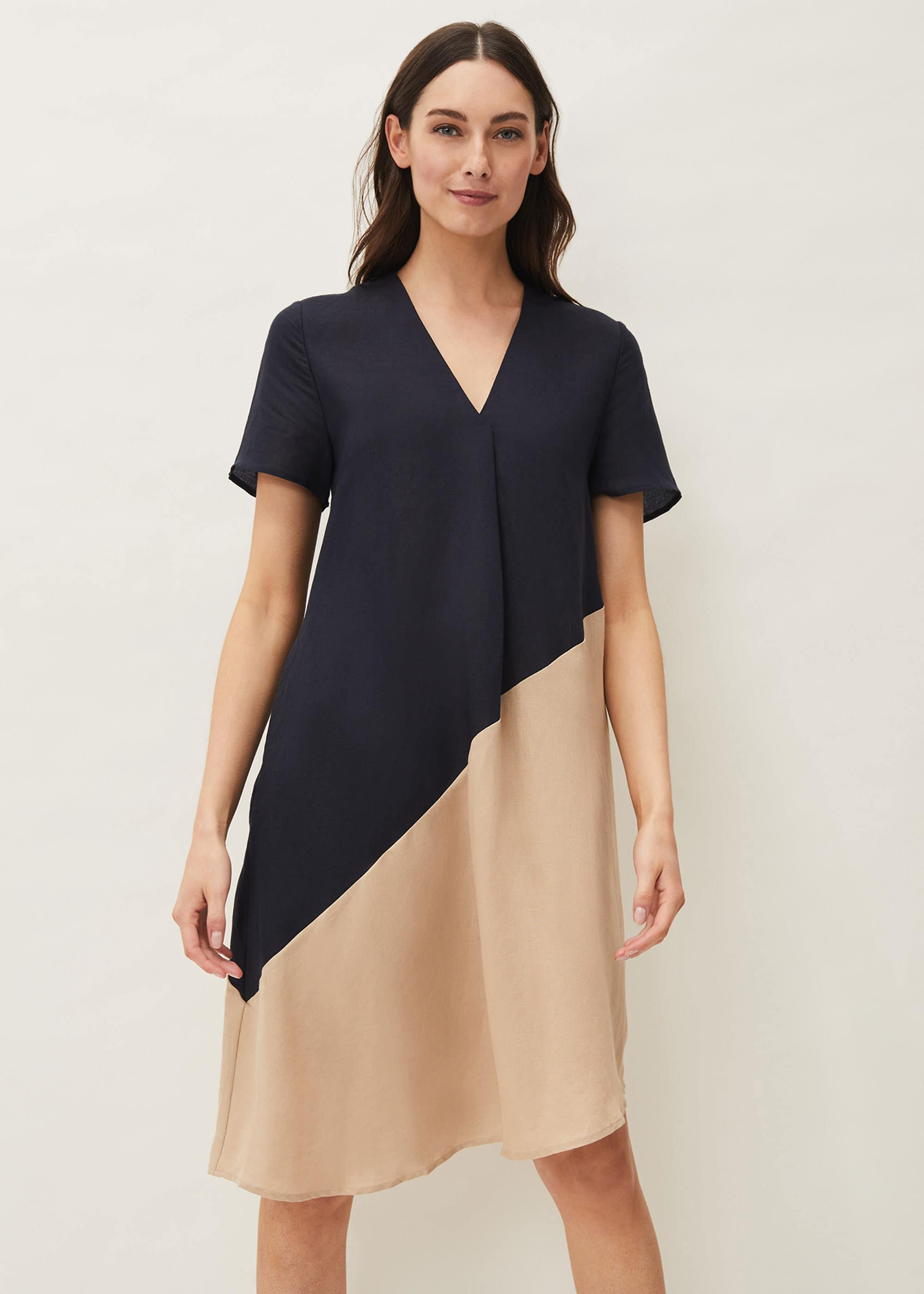 Phase Eight Women Doty Colourblock Linen-Blend Swing Dress