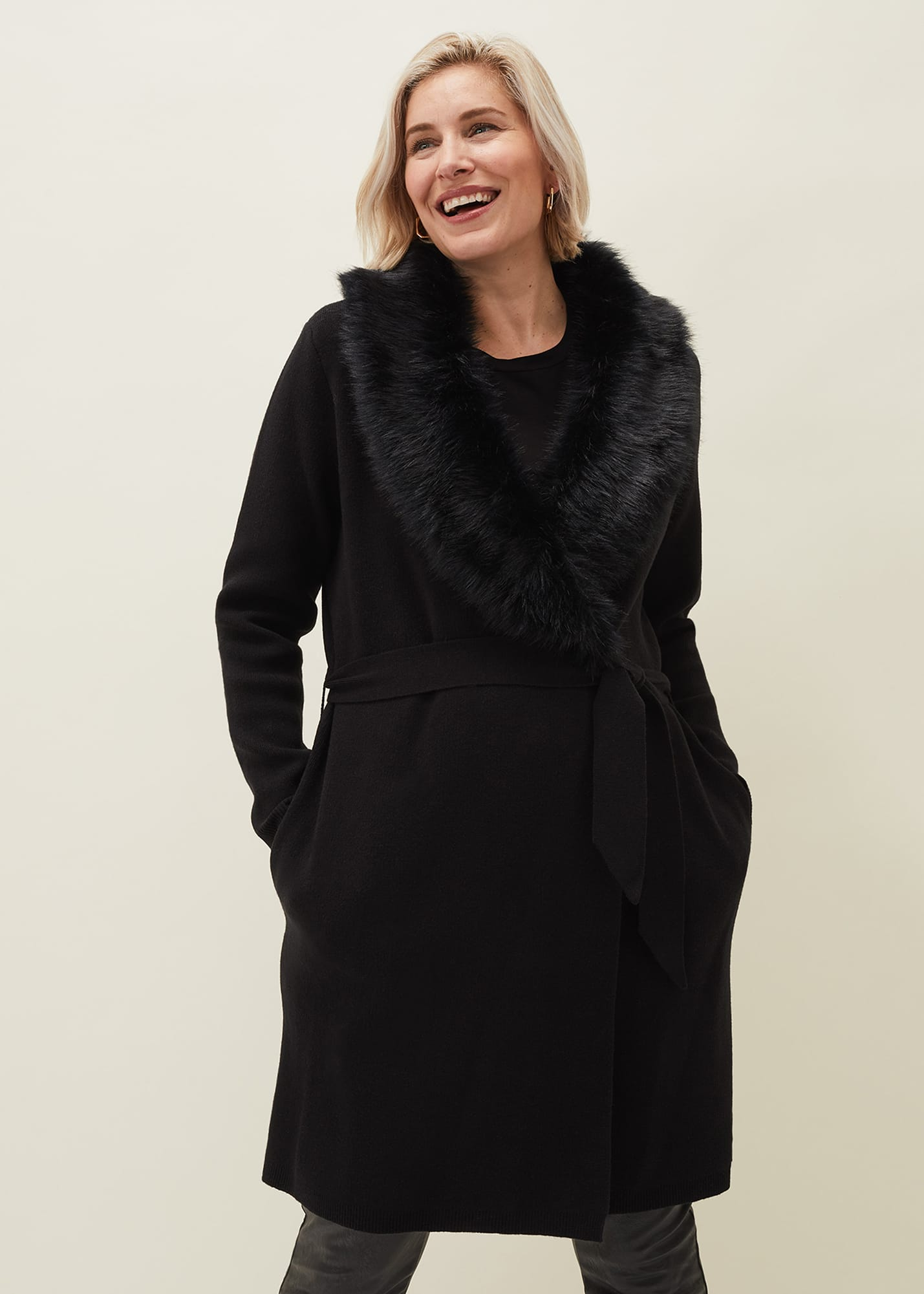 Phase Eight Women Edessa Fur Collar Wrap Coat