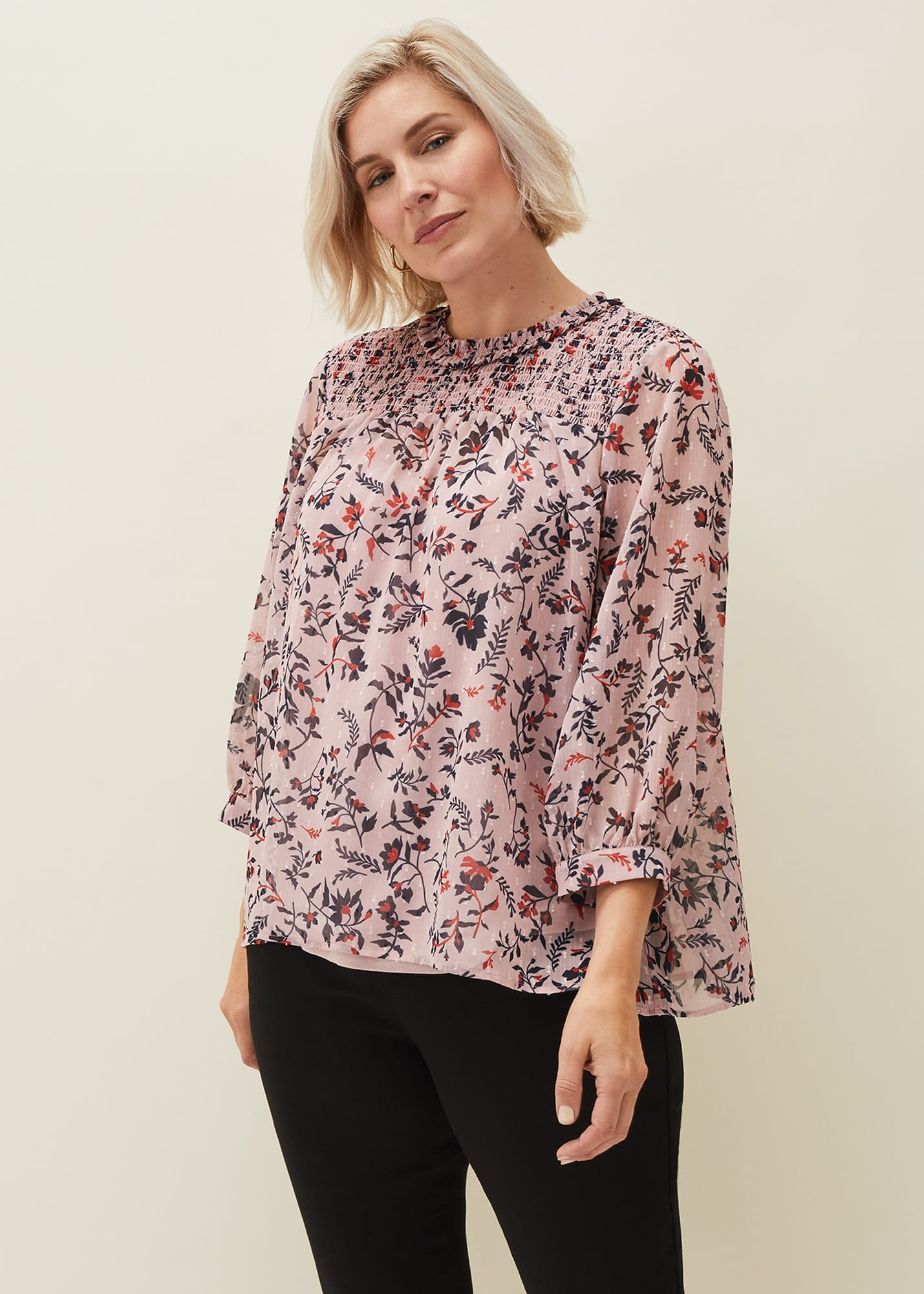 Phase Eight Women Julie Shirred Floral Blouse