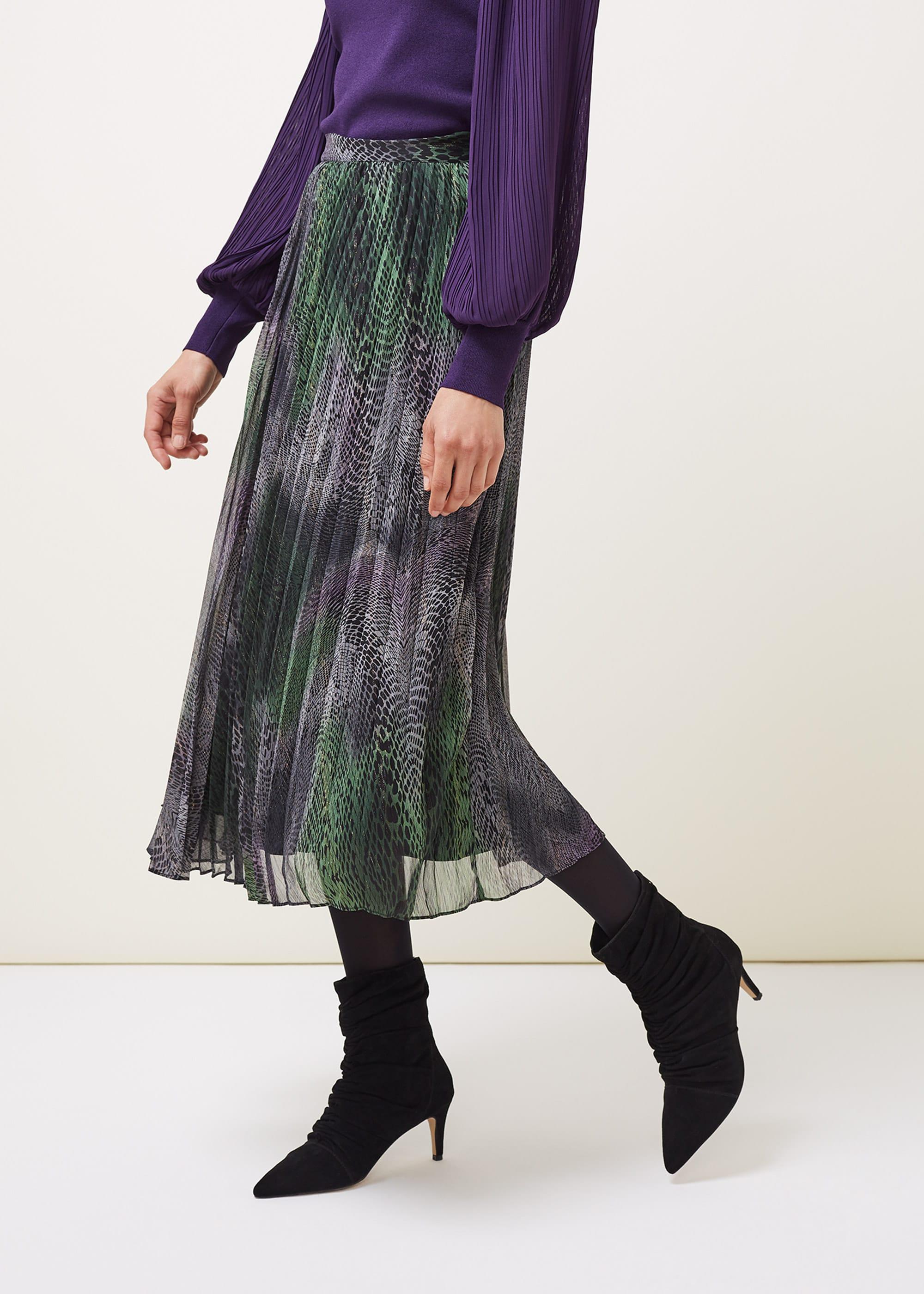 Phase Eight Women Camina Snake Print Pleated Maxi Skirt