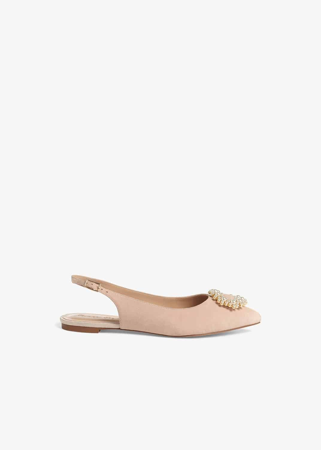 Phase Eight Women Abi Faux Pearl Trim Leather Slingback Flat Shoes