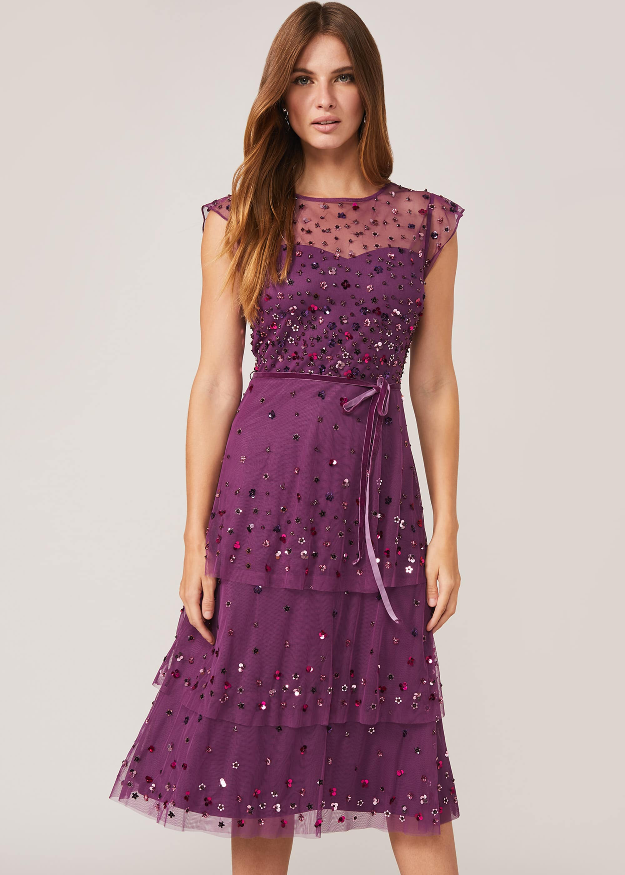 Phase Eight Women Cortine Embellished Tiered Dress
