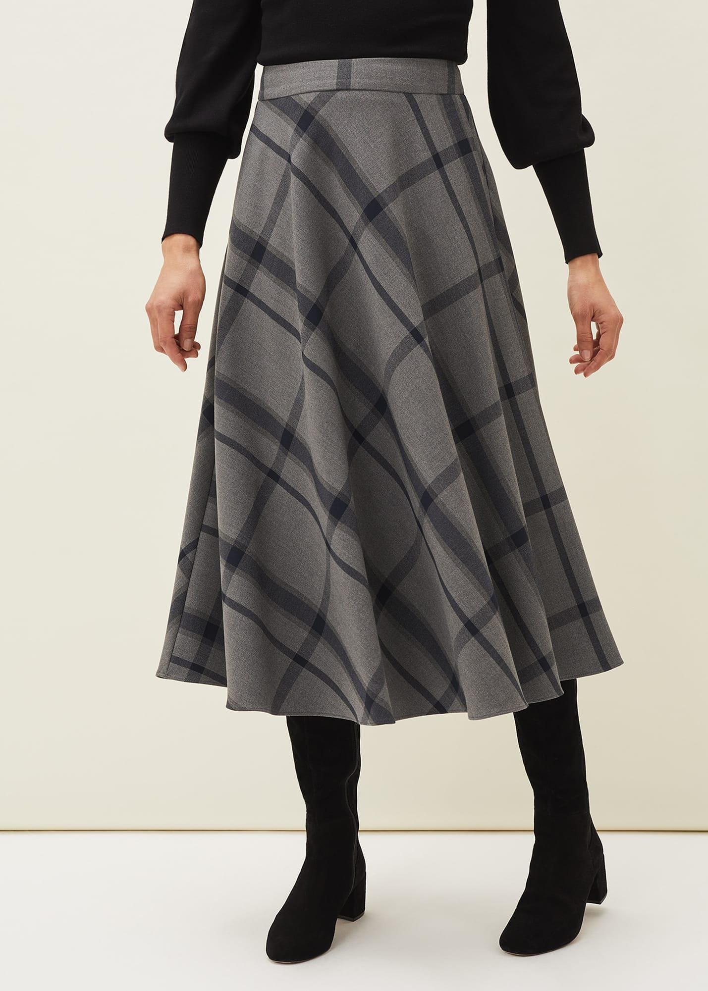Phase Eight Women Samiya Check A Line Midi Skirt