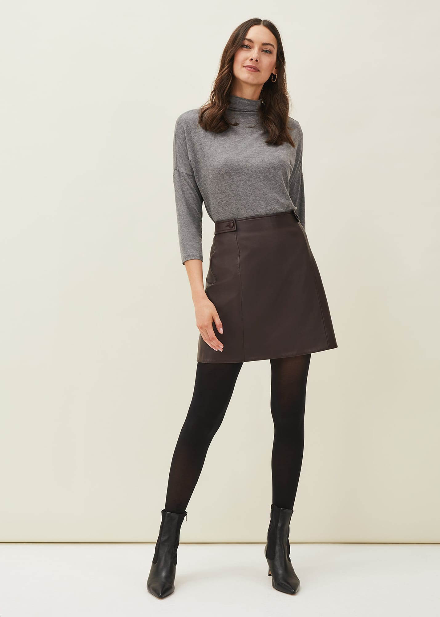 Phase Eight Women Nadine Faux Leather A-Line Skirt