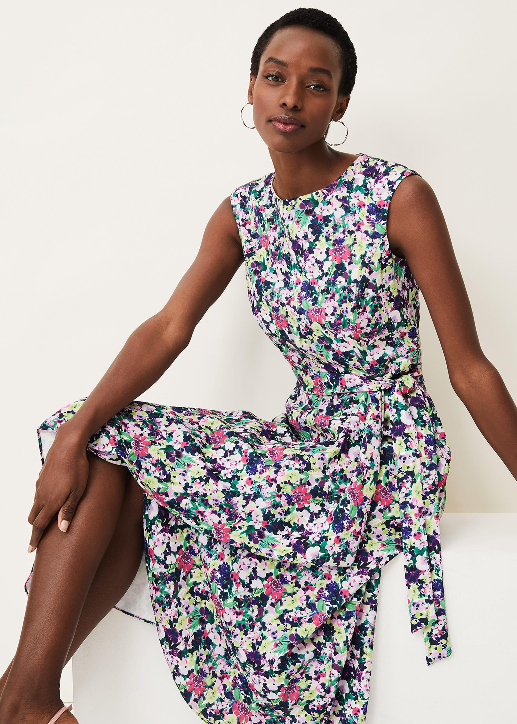 Phase Eight Women Arya Floral Frill Hem Sleeveless Midi Dress