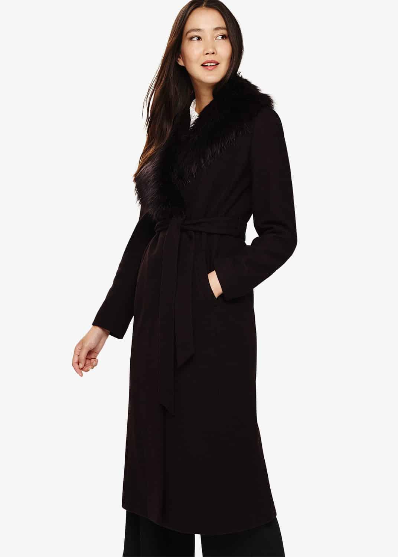 Phase Eight Women Fergie Faux Fur Collar Coat