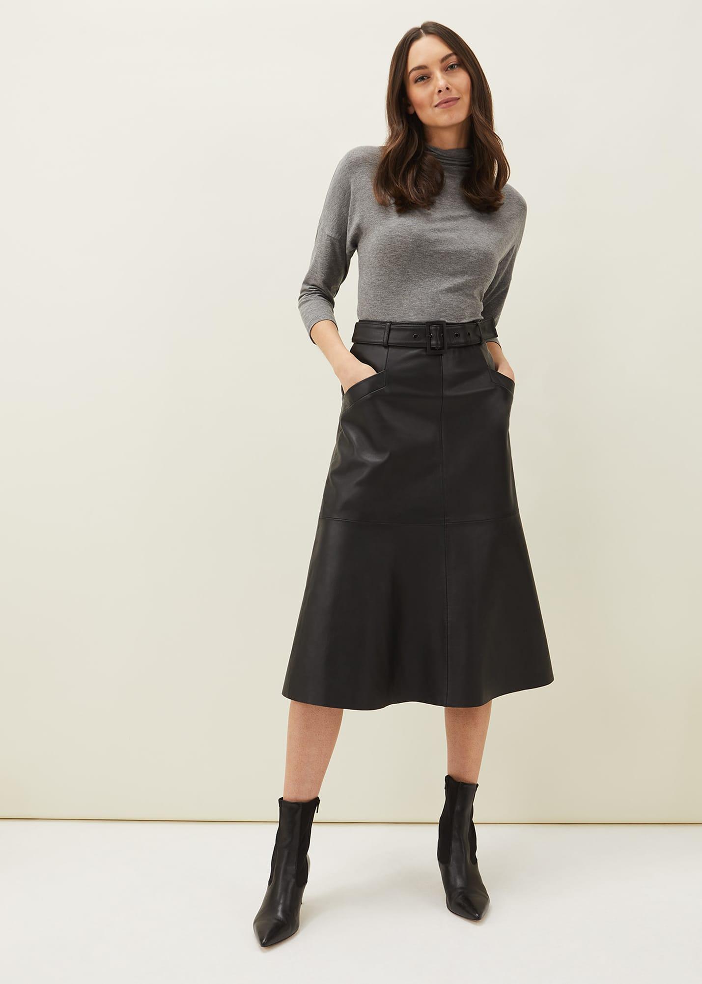 Phase Eight Women Jemma Faux Leather A-line Midi Skirt